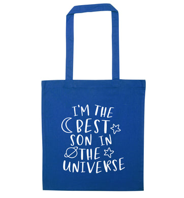I'm the best son in the universe blue tote bag