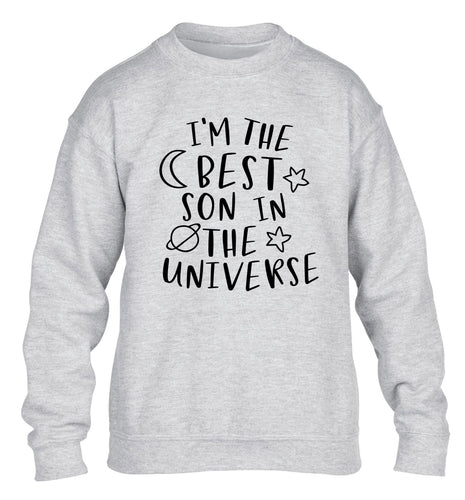 I'm the best son in the universe children's grey sweater 12-13 Years