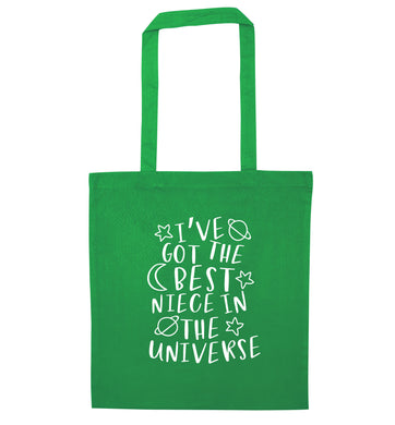 I've got the best niece in the universe green tote bag