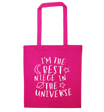 I'm the best niece in the universe pink tote bag