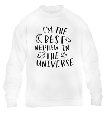 I'm the best nephew in the universe children's white sweater 12-13 Years