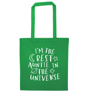I'm the best auntie in the universe green tote bag