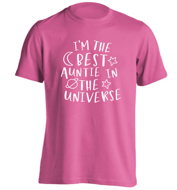 I'm the best auntie in the universe adults unisex pink Tshirt 2XL