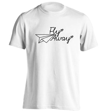 Fly away adults unisex white Tshirt 2XL