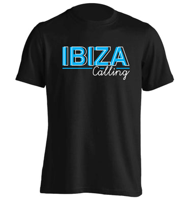 Ibiza calling adults unisex black Tshirt 2XL