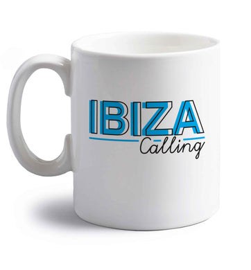 Ibiza calling right handed white ceramic mug