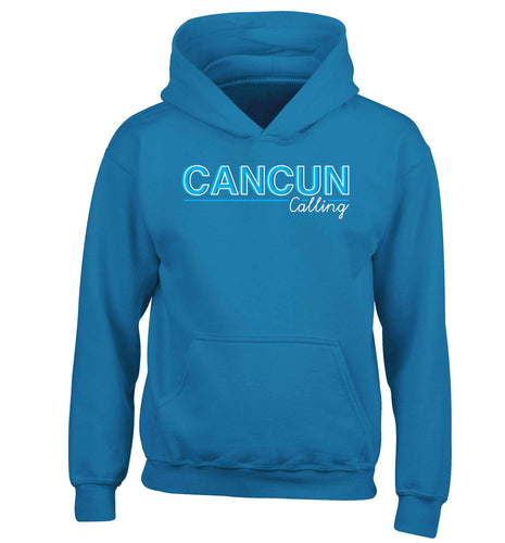Cancun calling children's blue hoodie 12-13 Years