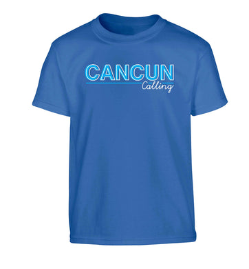 Cancun calling Children's blue Tshirt 12-13 Years
