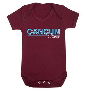 Cancun calling Baby Vest maroon 18-24 months