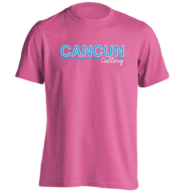 Cancun calling adults unisex pink Tshirt 2XL