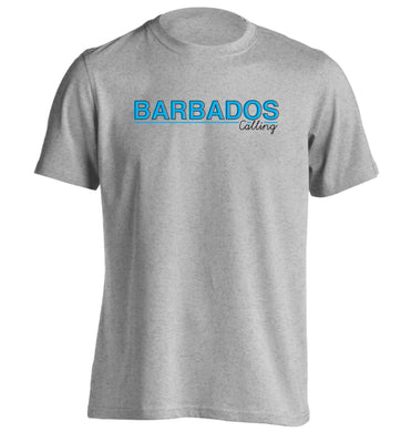Barbados calling adults unisex grey Tshirt 2XL