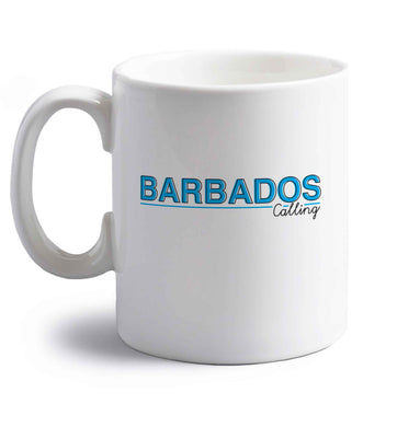 Barbados calling right handed white ceramic mug