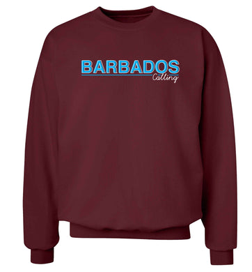 Barbados calling Adult's unisex maroon Sweater 2XL