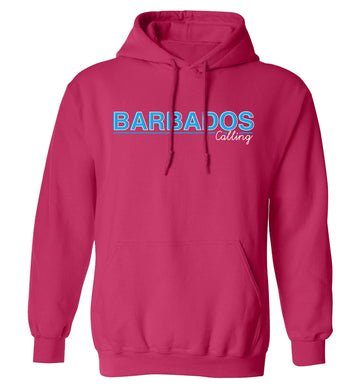 Barbados calling adults unisex pink hoodie 2XL