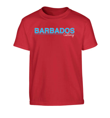 Barbados calling Children's red Tshirt 12-13 Years