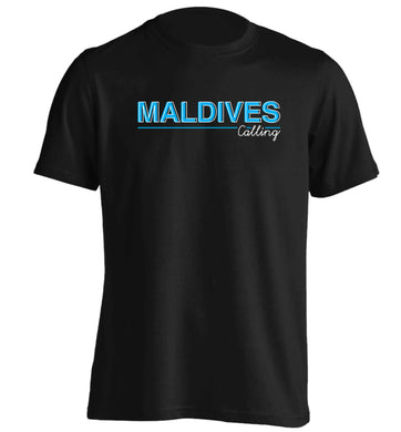 Maldives calling adults unisex black Tshirt 2XL