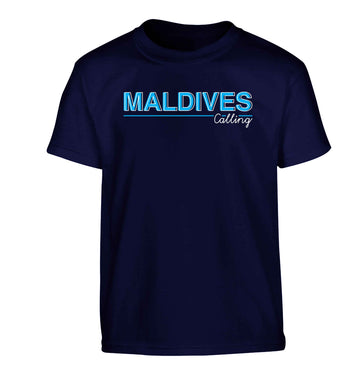 Maldives calling Children's navy Tshirt 12-13 Years