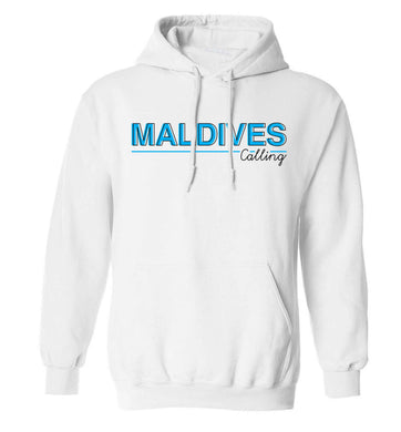 Maldives calling adults unisex white hoodie 2XL