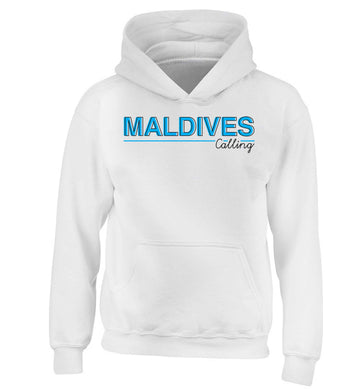 Maldives calling children's white hoodie 12-13 Years
