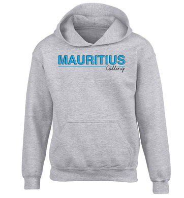 Mauritius calling children's grey hoodie 12-13 Years