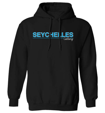 Seychelles calling adults unisex black hoodie 2XL