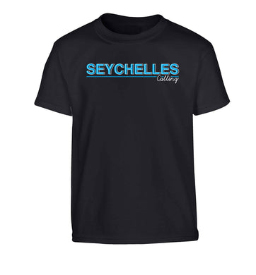 Seychelles calling Children's black Tshirt 12-13 Years