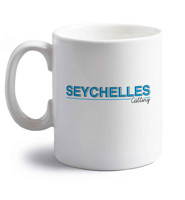 Seychelles calling right handed white ceramic mug