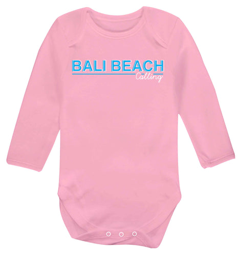 Bali beach calling Baby Vest long sleeved pale pink 6-12 months