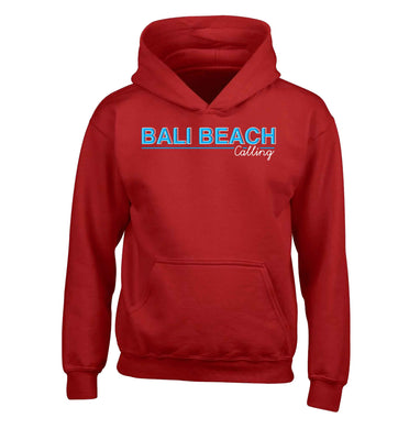 Bali beach calling children's red hoodie 12-13 Years