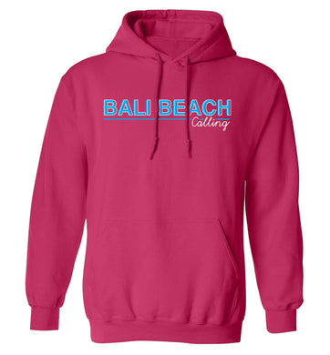 Bali beach calling adults unisex pink hoodie 2XL