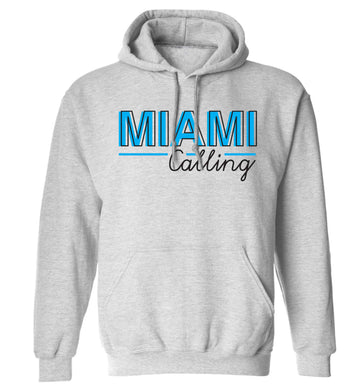 Miami calling adults unisex grey hoodie 2XL