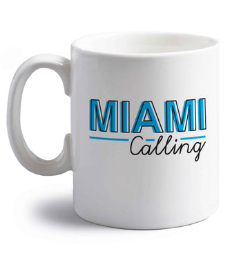 Miami calling right handed white ceramic mug