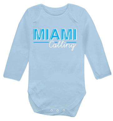Miami calling Baby Vest long sleeved pale blue 6-12 months