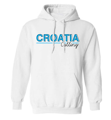 Croatia calling adults unisex white hoodie 2XL