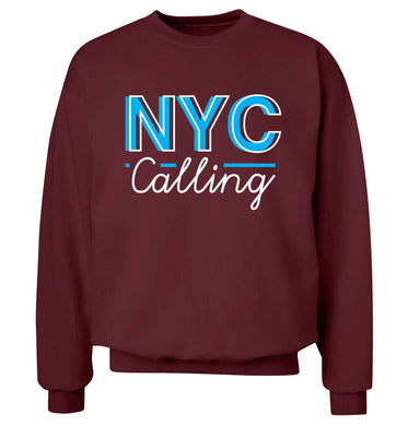 NYC calling Adult's unisex maroon Sweater 2XL