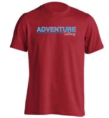 Adventure calling adults unisex red Tshirt 2XL
