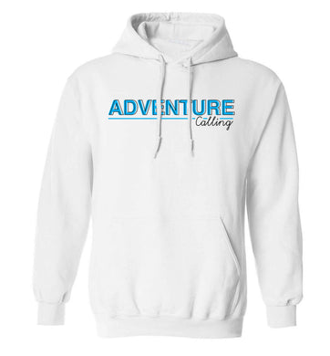 Adventure calling adults unisex white hoodie 2XL