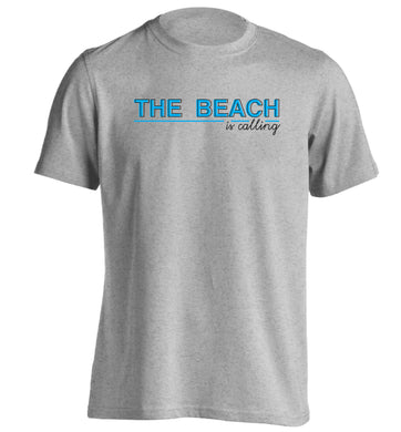The beach is calling adults unisex grey Tshirt 2XL