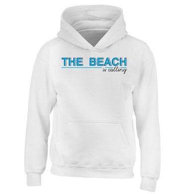 The beach is calling children's white hoodie 12-13 Years