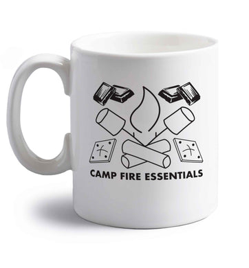 Campfire essentials right handed white ceramic mug