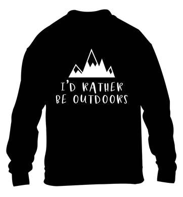 I'd rather be outdoors children's black sweater 12-13 Years