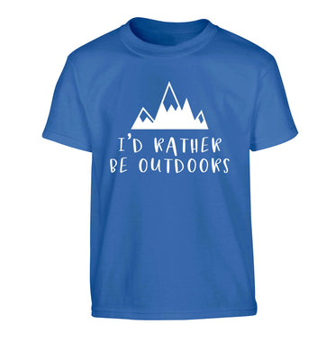 I'd rather be outdoors Children's blue Tshirt 12-13 Years