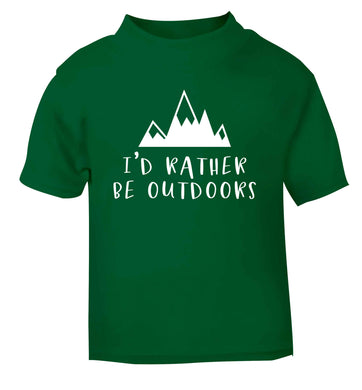 I'd rather be outdoors green Baby Toddler Tshirt 2 Years