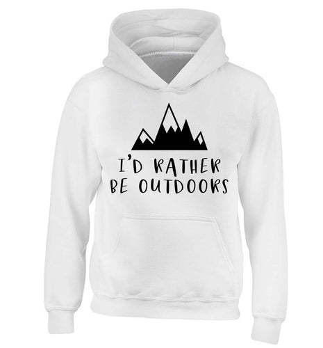 I'd rather be outdoors children's white hoodie 12-13 Years