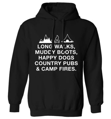 Long walks muddy boots happy dogs country pubs and camp fires adults unisex black hoodie 2XL