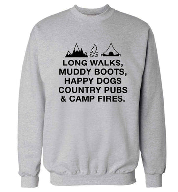 Long walks muddy boots happy dogs country pubs and camp fires Adult's unisex grey Sweater 2XL