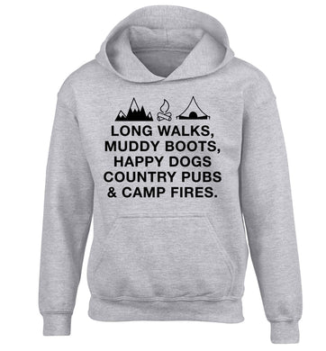 Long walks muddy boots happy dogs country pubs and camp fires children's grey hoodie 12-13 Years