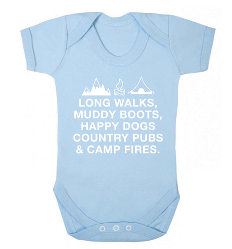 Long walks muddy boots happy dogs country pubs and camp fires Baby Vest pale blue 18-24 months
