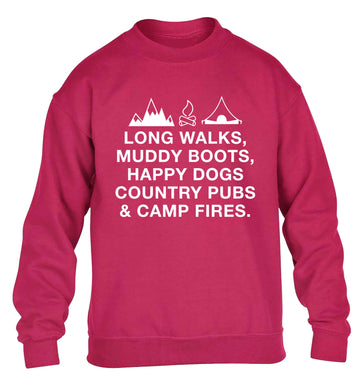 Long walks muddy boots happy dogs country pubs and camp fires children's pink sweater 12-13 Years