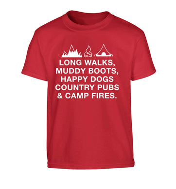 Long walks muddy boots happy dogs country pubs and camp fires Children's red Tshirt 12-13 Years